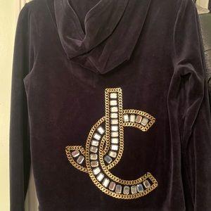 Juicy couture black velvet zip up jacket